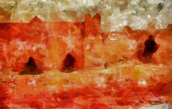Peinture d'art de Digital - vieux bâtiment d'architecture illustration stock