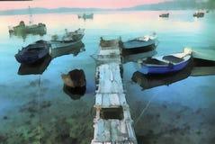 Peinture d'art de Digital - vieux bateau d'architecture illustration stock