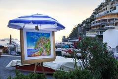 Peinture d'artiste de rue dans Positano, Italie Photographie stock