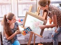 Peinture d'artiste sur le chevalet dans le studio Peintures authentiques d'enfants images libres de droits