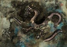 Peinture d'encre d'un dragon images stock