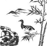 Peinture d'encre - penchez-vous dans la forêt en bambou illustration libre de droits