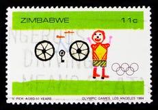 Peinture d'enfant, bicyclette et enfant, Jeux Olympiques à Los Angeles, 1984, serie, vers 1984 Image libre de droits