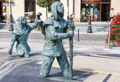 peinture 3d et sculptures illusoires sur la place principale du marché, WI Photo libre de droits