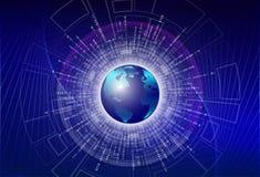 Peinture d'illustration de Digital - code binaire numérique global avec la terre numérique de planète, grand concept global de do Images libres de droits
