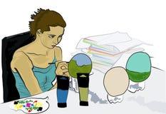 Peinture d'oeufs d'autruche Image stock