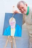 Peinture d'un autoportrait en pétroles Image libre de droits
