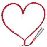 Peinture d'un coeur avec un rouge à lievres rouge Image libre de droits