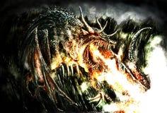 Peinture d'un dragon dramatique Photographie stock libre de droits