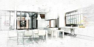 Peinture d'une cuisine moderne de grenier illustration stock