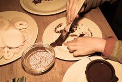 Peinture de biscuit de Noël Images libres de droits