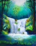 Peinture de cascade à écriture ligne par ligne Photo libre de droits