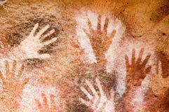 Peinture de caverne antique dans le Patagonia Images libres de droits