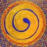 Peinture de cercle de ZEN d'or images stock