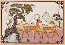 Peinture de cerfs communs de Chinease Photographie stock libre de droits