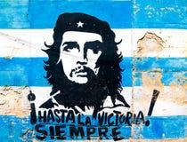 Peinture de Che Guevara sur un vieux mur à La Havane Images stock