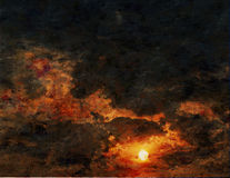 Peinture de coucher du soleil images stock