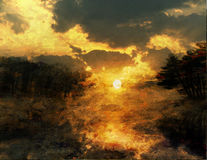 Peinture de coucher du soleil illustration de vecteur