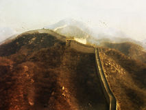 Peinture de Digital de la Grande Muraille de la Chine, style d'aquarelle Photo stock