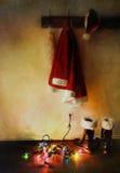 Peinture de Digitals de costume de Santa avec des lumières Photographie stock