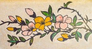 Peinture de fleur sur le mur de granit Images libres de droits