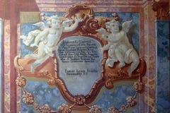 Peinture de fresque sur le plafond de l'église baroque de notre Madame de la neige dans Belec, Croatie image libre de droits