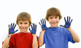 Peinture de garçons Photos libres de droits