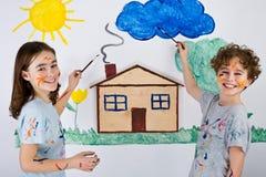 Peinture de gosses Image libre de droits