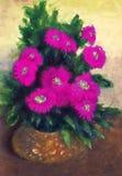 Peinture de gouache Fleurs bleues dans le vase rond jaune Photos stock