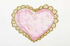 Peinture de grand coeur au-dessus du fond blanc Images stock