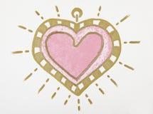 Peinture de grand coeur rose au-dessus du fond blanc Photo libre de droits