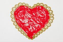 Peinture de grand coeur rouge au-dessus du fond blanc Photographie stock