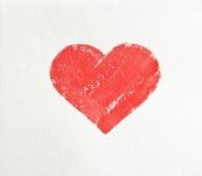 Peinture de grand coeur rouge au-dessus du fond blanc Photo stock