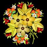 Peinture de Khokhloma de Russe, décoration russe de style et élément de conception, graphiques de vecteur Image stock