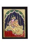 Peinture de krishna plaquée par or et de radha Images stock