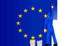 Peinture de l'indicateur de l'Union européenne Image libre de droits