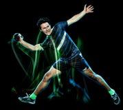 Peinture de lumière de vitesse d'isolement par jeune homme de joueur de handball photo stock