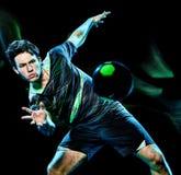 Peinture de lumière de vitesse d'isolement par jeune homme de joueur de handball photo libre de droits