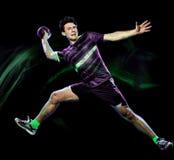 Peinture de lumi?re de vitesse d'isolement par jeune homme de joueur de handball images stock