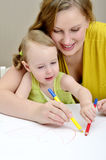 Peinture de mère et d'enfant Images libres de droits