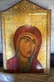 Peinture de madonna dans l'Acropole d'Ialysos chez Philerimos en Rhodes photographie stock