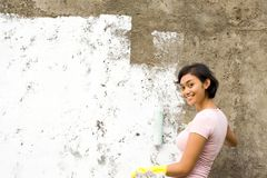 peinture de maison heureuse photos stock