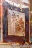 Peinture de mur antique de Hercule, de Minerva et de Juno à Herculanum, Italie images stock