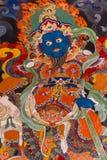 Peinture de mur bouddhiste dans Ladakh, Inde Photographie stock libre de droits