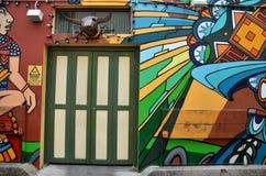 Peinture de mur décorative à la ruelle de Haji, Singapour Photos stock