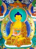 Peinture de mur de Bouddha au monastère de Hemis, Leh-Ladakh, Inde Image libre de droits
