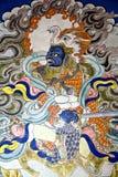 Peinture de mur de Bouddha au monastère de Hemis, Leh-Ladakh, Inde Photos libres de droits