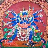 Peinture de mur de Bouddha au monastère de Hemis, Leh-Ladakh, Inde Images stock