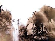 Peinture de paysage chinoise de montagne illustration stock