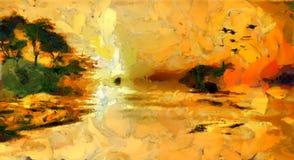 Peinture de paysage d'île de l'eau illustration stock